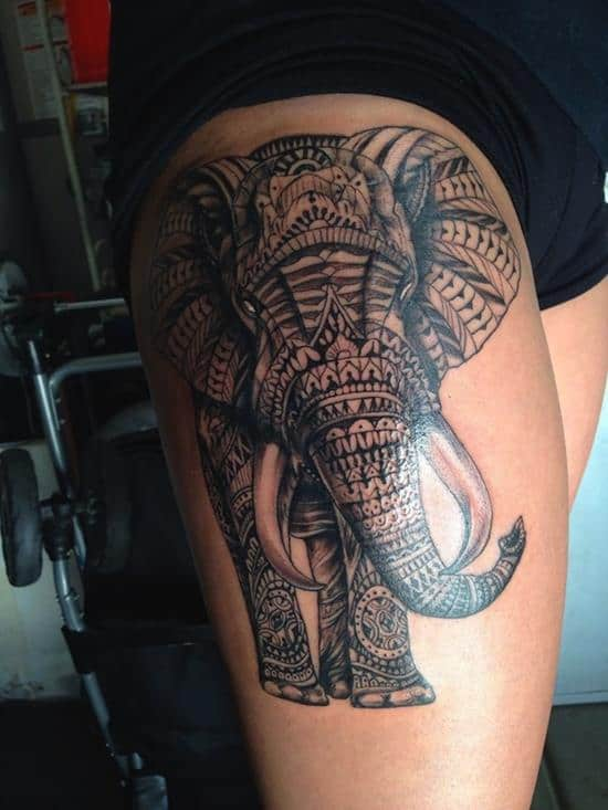 thigh-tattoos-elephant