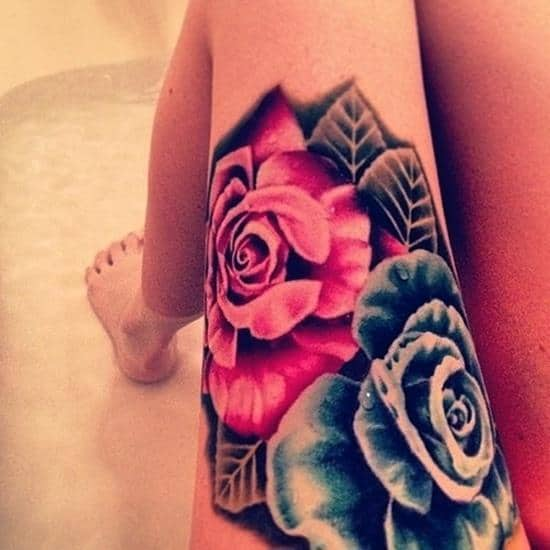 thigh-tattoos-redblue-rose