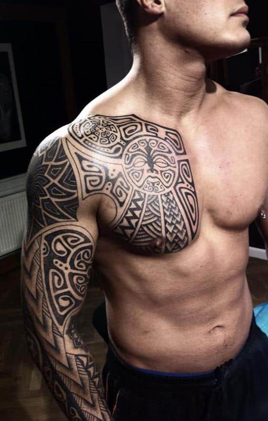 tribal-chest-sleeve-tattoo