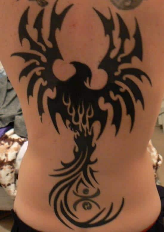 tribal-phoenix-back-tattoo