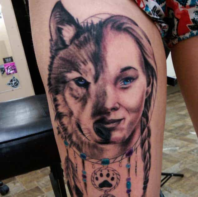 dreamcatcher and wolf tattoo