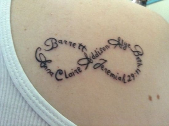 Tattoos to Celebrate Your Children | Infinity Name Tattoo | Beanstalk Single Mums