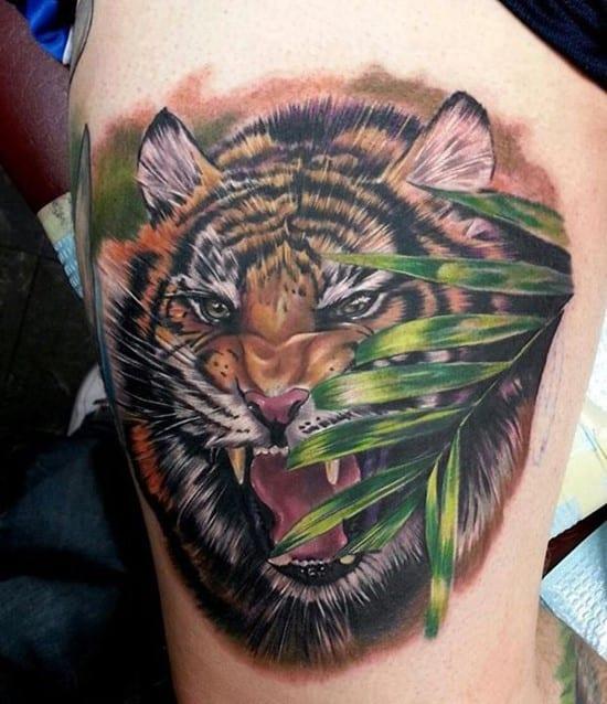 tiger in jungle tattoo
