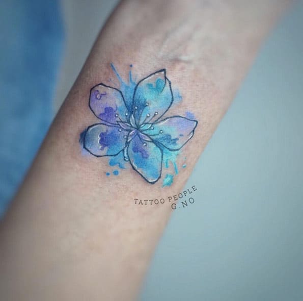 Watercolor Cherry Blossom Tattoo by G.NO