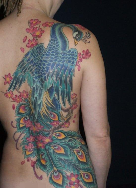 12-Peacock-Tattoo-on-Back
