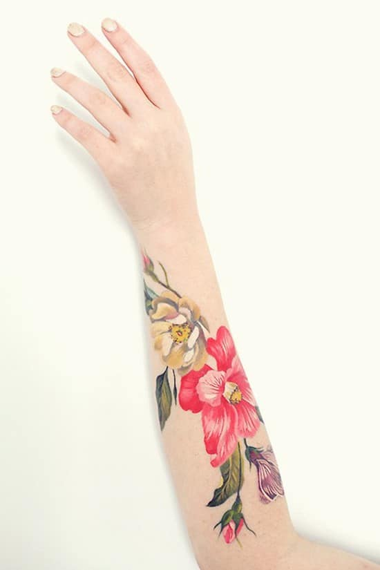 13-Beautiful-Flower-Forearm-Tattoo
