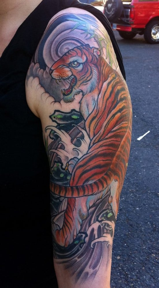tiger and waves tattoo sleeve