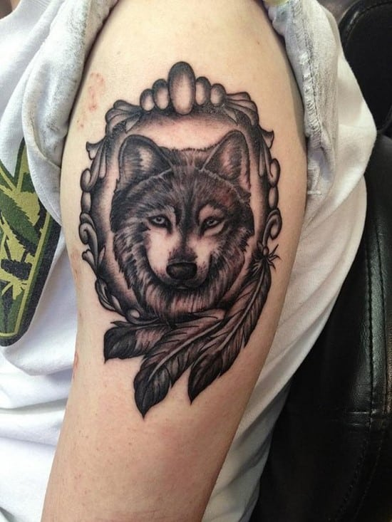 14-Indian-style-Wolf-Tattoo