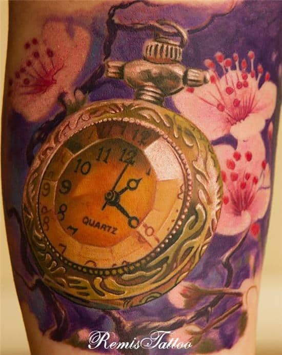 realistic Tattoo Old Pocket Watch