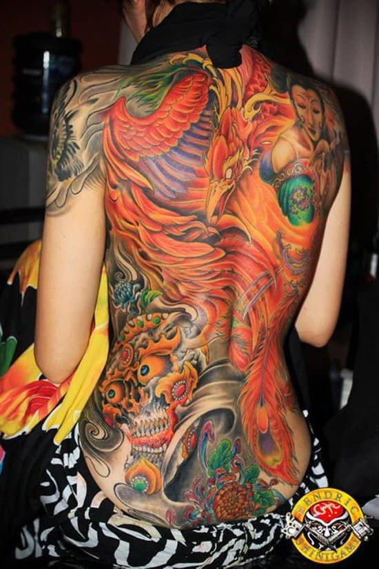 100 best phoenix tattoos meanings of 2016. Black Bedroom Furniture Sets. Home Design Ideas