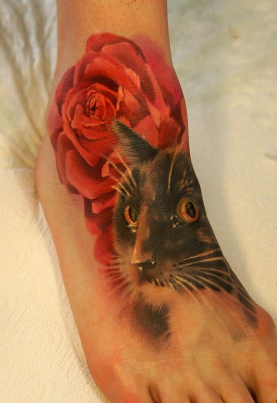 16-cat-and-rose-tattoo-on-foot