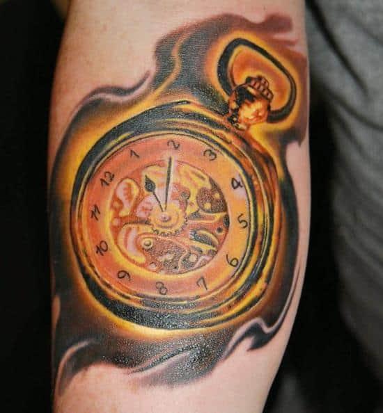 golden fire pocket watch