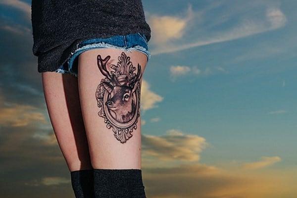 2-Deer-Thigh-Tattoo