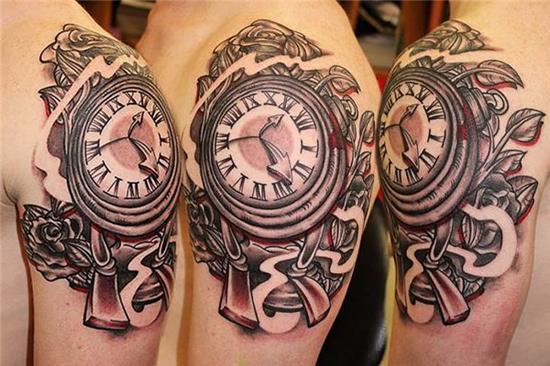 clock sleeve tattoos on three shoulders