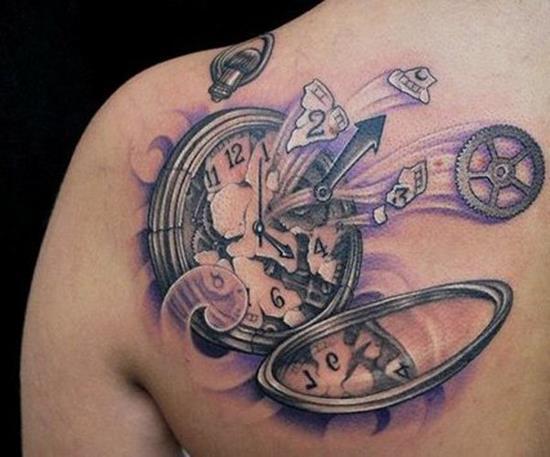 broken watch tattoo