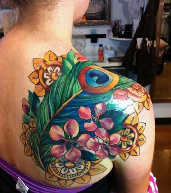 22-Peacock-Feather-and-Flower-Tattoo