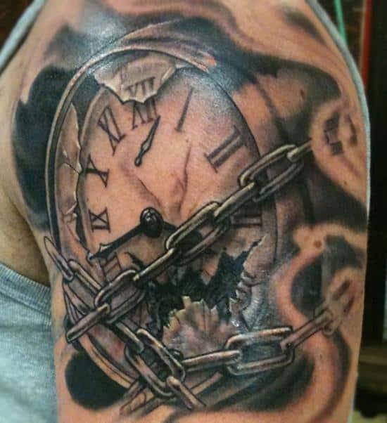 chain watch tattoo on shoulder