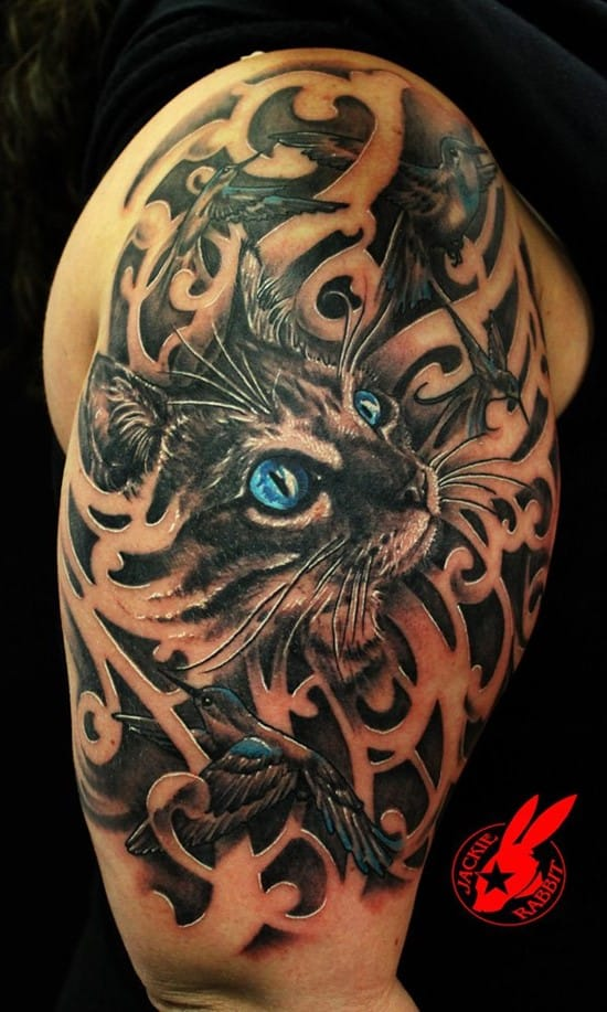 25-Blue-Eye-Cat-and-Bird-Tattoo-by-Jackie-Rabbit