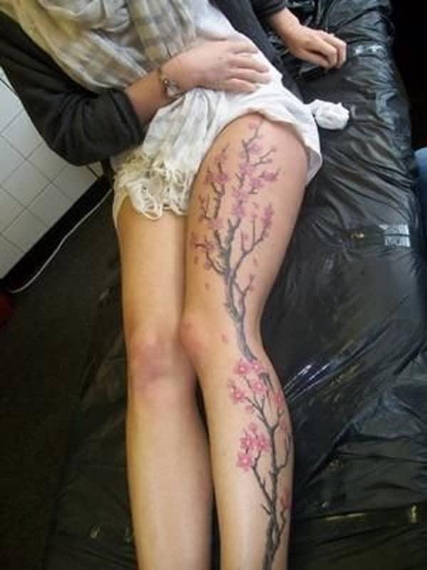 25-cherry-blossom-tree-leg-tattoo