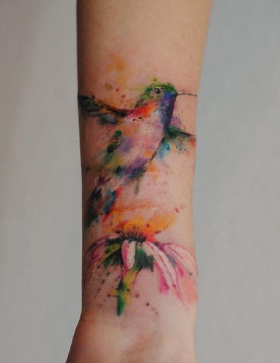 25-hummingbird-watercolor-Forearm-Tattoo