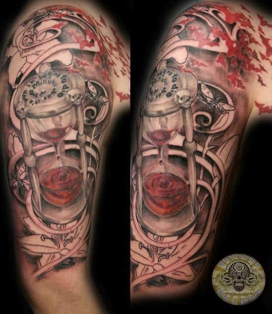Blood clock script skulls tattoo