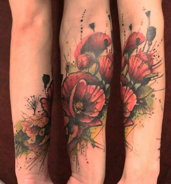 28-Watercolor-Flower-Forearm-Tattoo