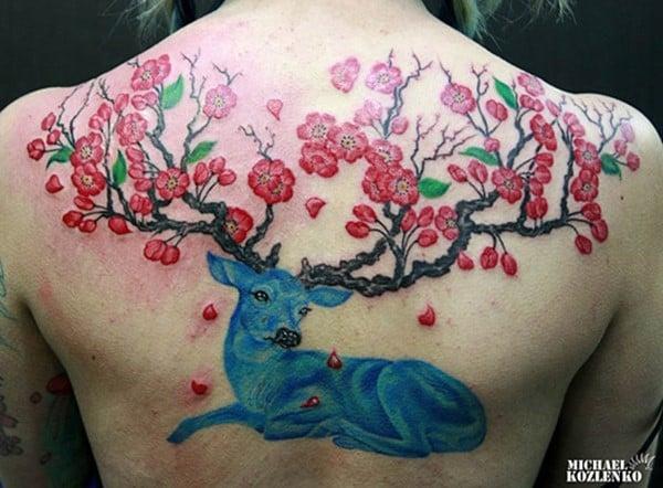 29-Deer-and-plum-flower-Tattoo