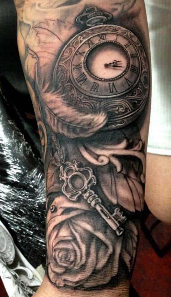 feather clock key tattoo