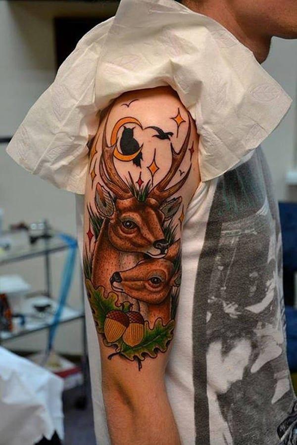 3-Deer-Tattoo-on-Half-Sleeve
