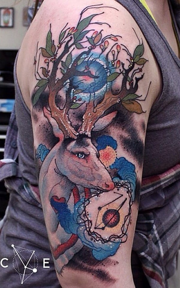 32-Deer-Tattoo-on-Helf-Sleeve