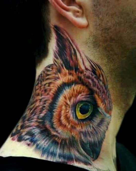32-Owl-Head-Tattoo-On-Men-Side-Neck