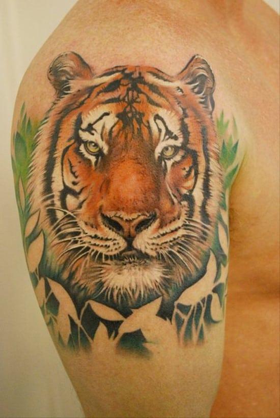 tiger and plants tattoo