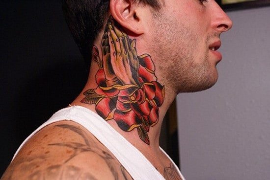 35-Hand-and-rose-tattoo-on-neck