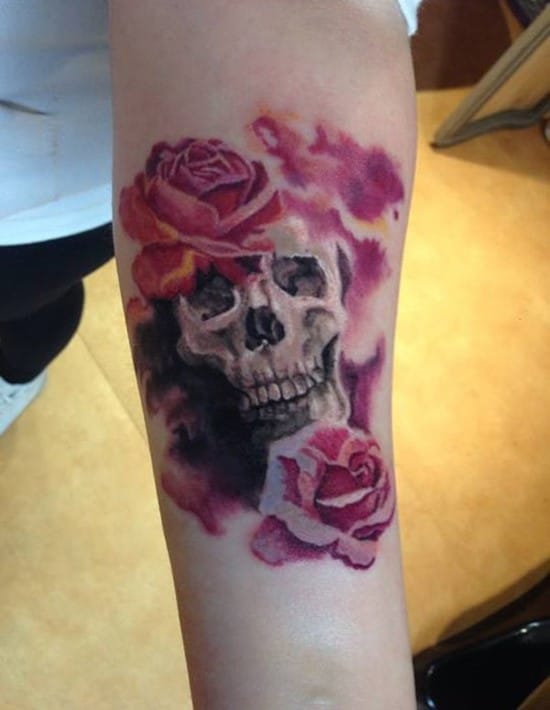 36-Skull-and-Flower-Forearm-Tattoo