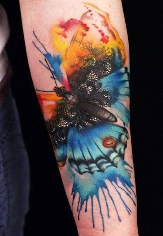 36-Watercolor-butterfly-tattoo-on-arm