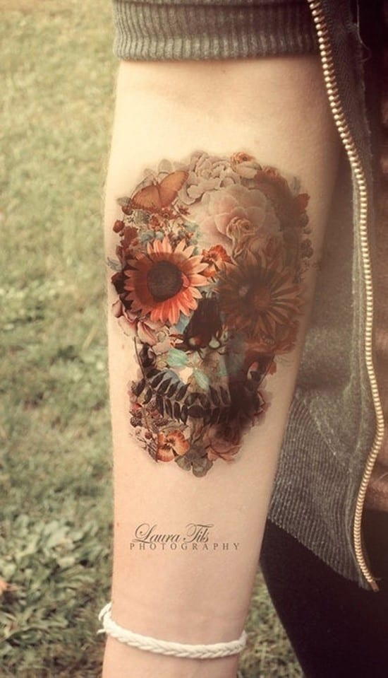 37-Flower-skull-wrist-tattoo