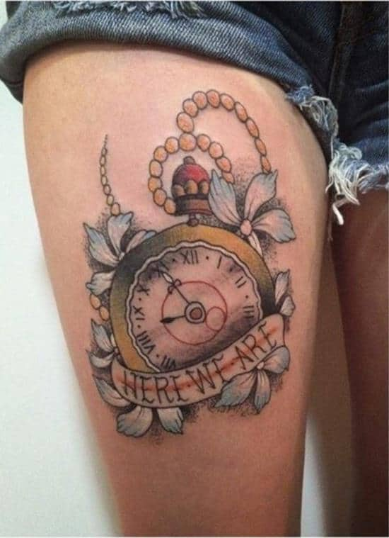 here we are clock tattoo