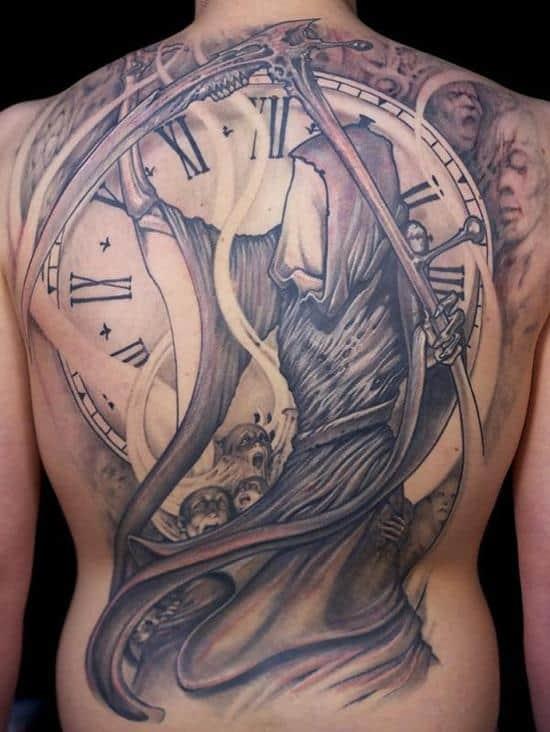 Grim Reaper with Clock Tattoo