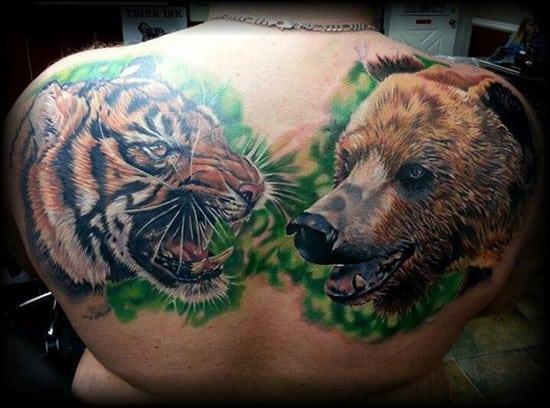 tiger and bear back tattoo