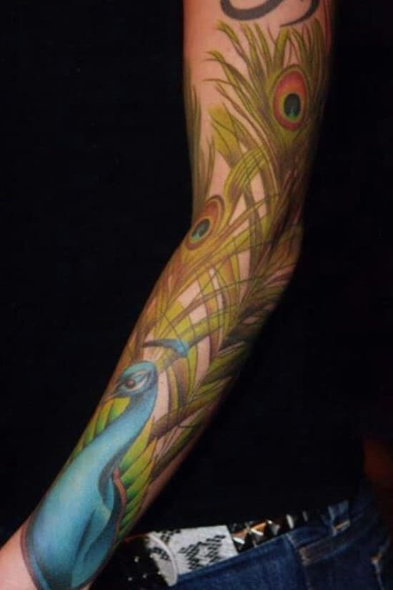 39-Peacock-Sleeve-Tattoo