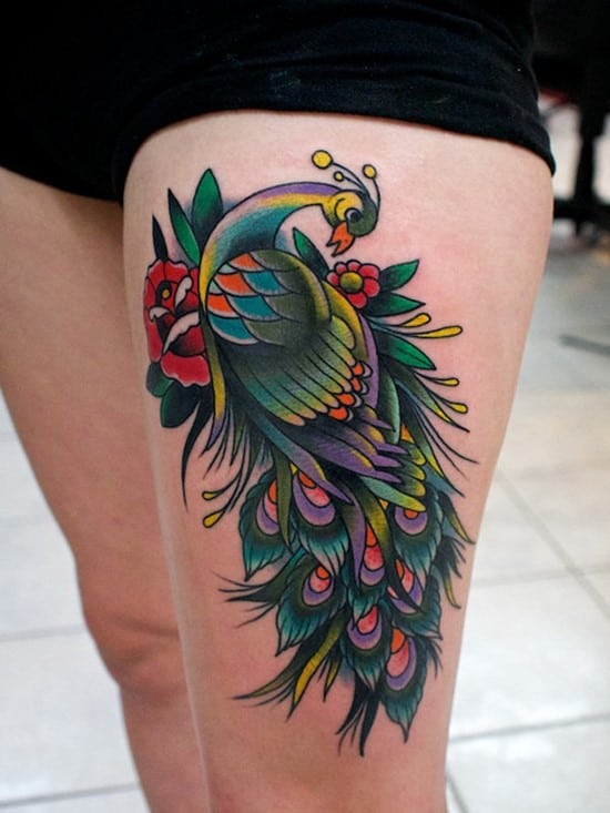 4-Thigh-Peacock-Tattoo
