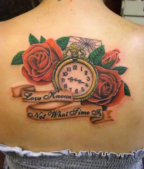 upper back rose tattoo on girl