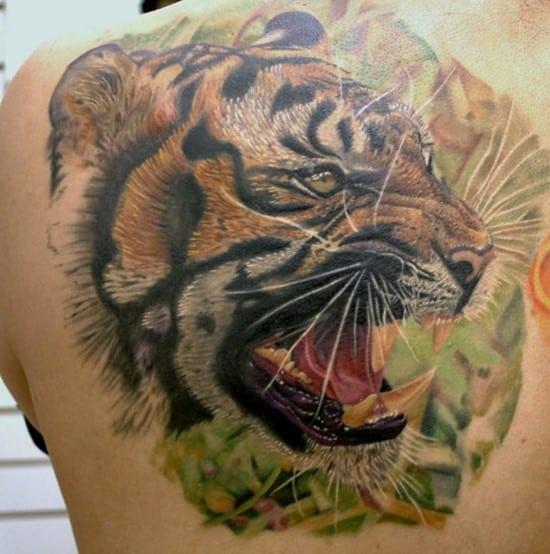 back tattoo of tiger