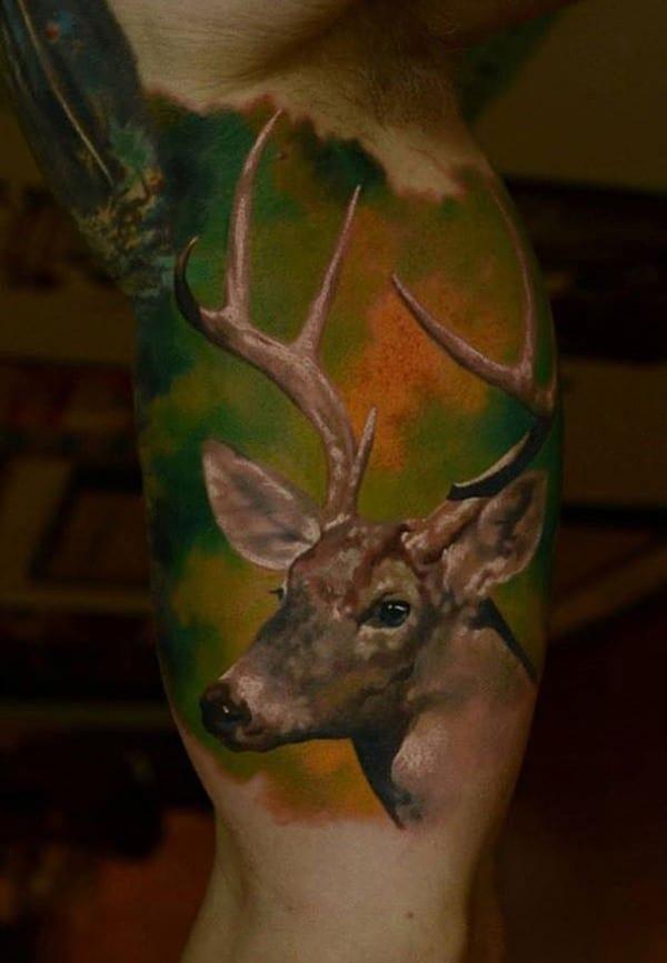 41-Coloured-3D-Deer-Tattoo