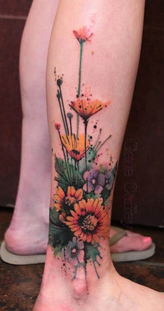 43-sunflower-leg-tattoo
