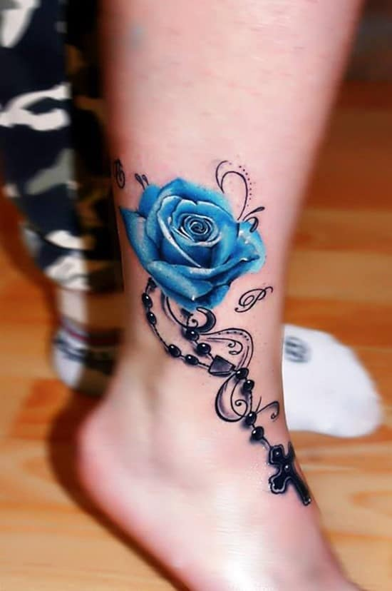 47-Bule-Rose-Ankle-Tattoo