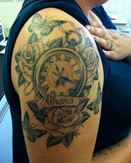ashana rose pocket watch shoulder tattoo