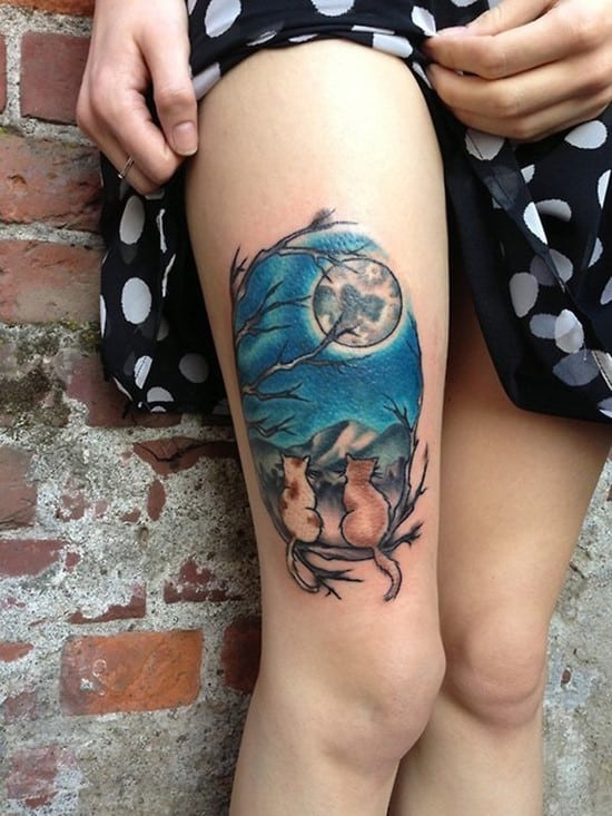 52-Moon-Cats-Thigh-Tattoo