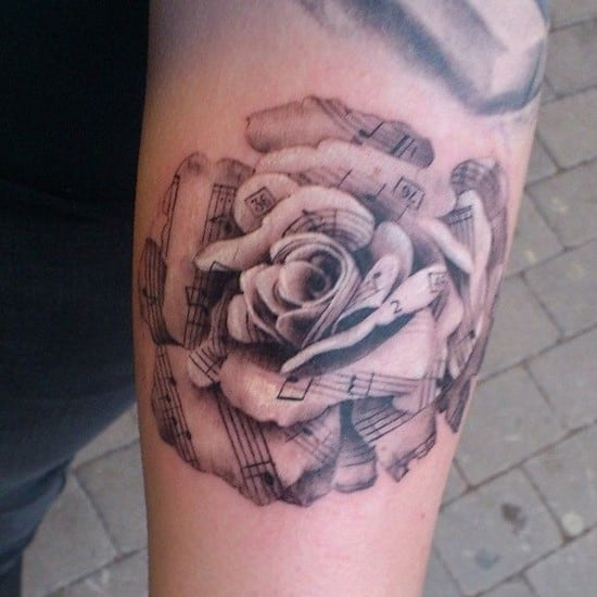 53-Sheet-music-rose-Forearm-Tattoo