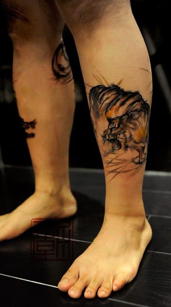 tiger on side of leg